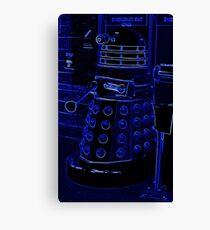 Neon Blue Dalek Canvas Print