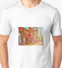 SIDEWALK RESTAURANTS MONTREAL CITY SCENES PAINTINGS CANADIAN ART T-Shirt