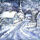 SNOWY VILLAGE CHRISTMAS SCENE by francelle  huffman