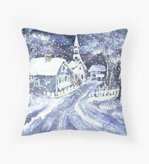 SNOWY VILLAGE CHRISTMAS SCENE Throw Pillow