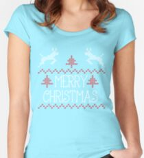 Merry Christmas knit design Women's Fitted Scoop T-Shirt