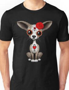 Red Day Of The Dead Sugar Skull Chihuahua Puppy Unisex T-Shirt