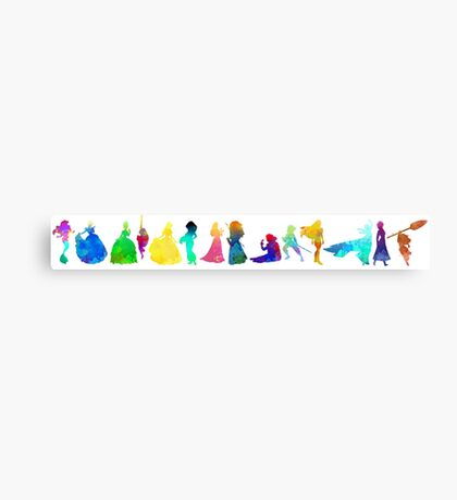 14 Princesses Inspired Silhouette Canvas Print