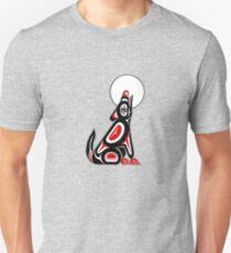 Haida Wolf Howling At The Moon Unisex T-Shirt