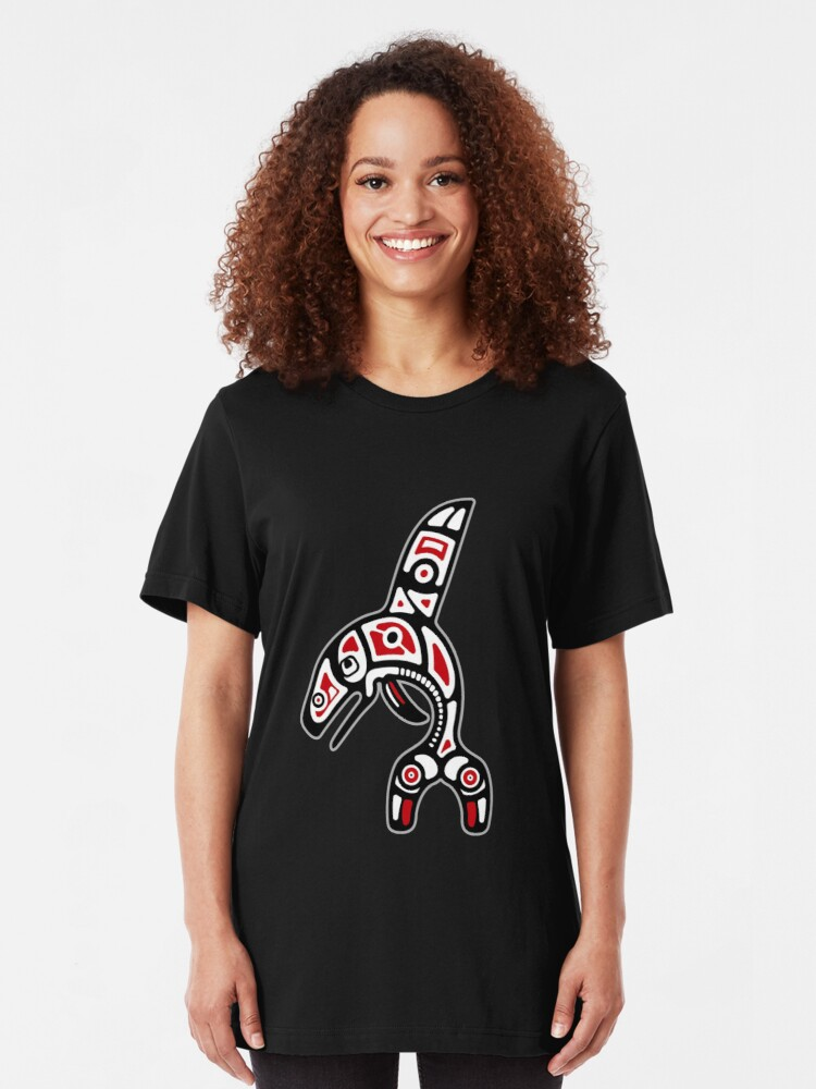 Alternate view of Haida Orca Killer Whale Slim Fit T-Shirt