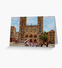 EGLISE NOTRE DAME CHURCH OLD MONTREAL ART CANADIAN PAINTING BY CAROLE SPANDAU CANADIAN ARTIST Greeting Card