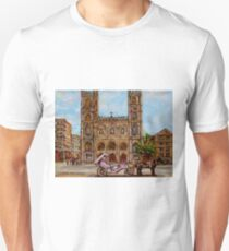 EGLISE NOTRE DAME CHURCH OLD MONTREAL ART CANADIAN PAINTING BY CAROLE SPANDAU CANADIAN ARTIST T-Shirt