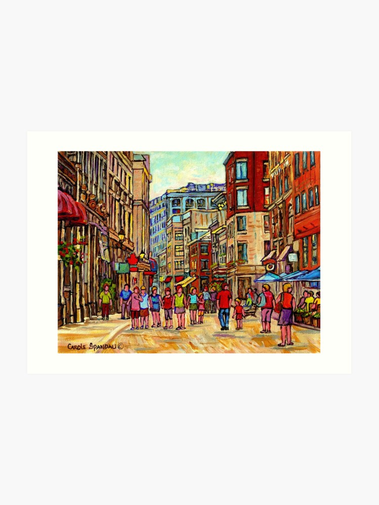 People Walking Inthe City Old Montreal Summer Street Scene Painting Of Canada Art Print