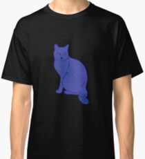 Watercolor Floral and Cat Classic T-Shirt
