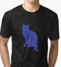 Watercolor Floral and Cat Tri-blend T-Shirt