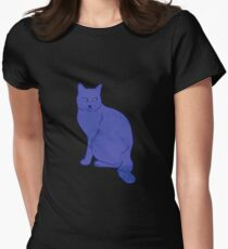 Watercolor Floral and Cat Women's Fitted T-Shirt