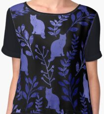 Watercolor Floral and Cat Chiffon Top