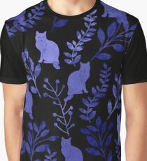 Watercolor Floral and Cat Graphic T-Shirt