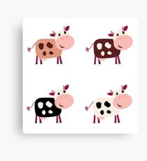 Stylish design Cows : brown on white Canvas Print