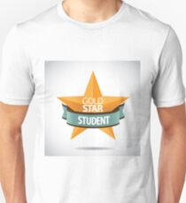 Gold Star Student 3D design with star and ribbon T-Shirt