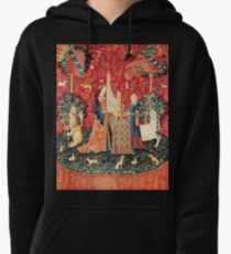 UNICORN AND LADY PLAYING ORGAN WITH ANIMALS , Hearing Pullover Hoodie