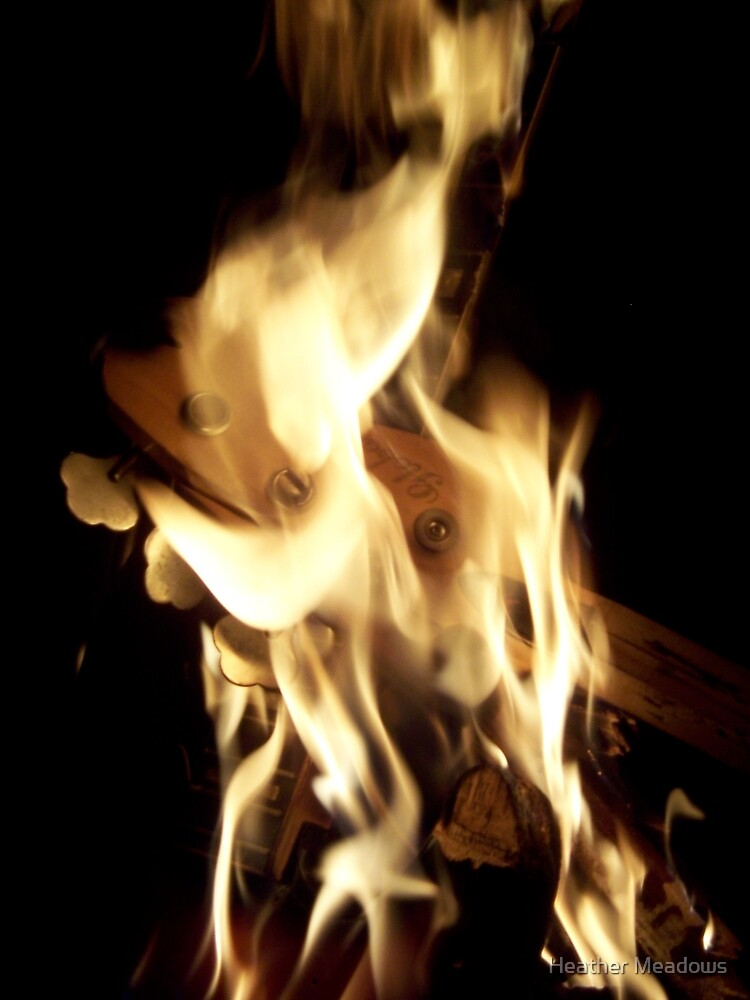 Flaming Guitar by Heather Meadows