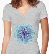 Blue Mandala Women's Fitted V-Neck T-Shirt