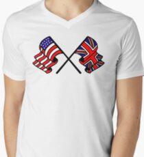 US & UK Crossed Flags Men's V-Neck T-Shirt