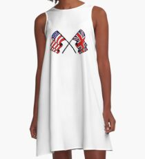 US & UK Crossed Flags A-Line Dress
