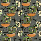 Gray Mid-Century Modern Houseplants, Atomic Patterns by Cherie Balowski
