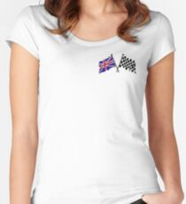 Crossed flags - Racing and Great Britain Women's Fitted Scoop T-Shirt