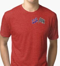 Crossed flags - Racing and Great Britain Tri-blend T-Shirt