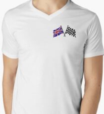 Crossed flags - Racing and Great Britain Men's V-Neck T-Shirt