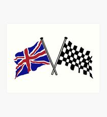 Crossed flags - Racing and Great Britain Art Print