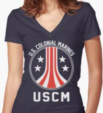 USCM US Colonial Marines Women's Fitted V-Neck T-Shirt