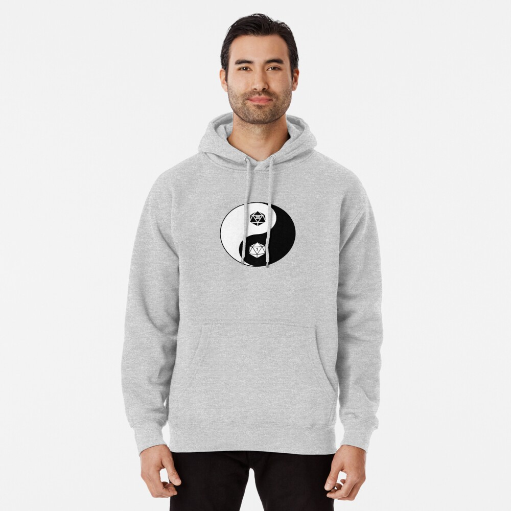 Yin Yang d20 Dungeons and Dragons Dice RPG Tee Pullover Hoodie Front