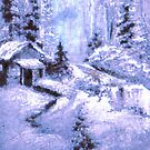 snow cabin fantasy by francelle  huffman