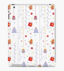 Christmas texture with gifts tree stars snowflakes iPad Case/Skin