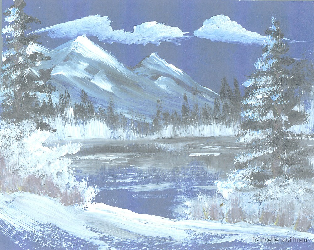frozen lake and mountain majesty by francelle  huffman