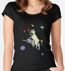 Llamacorn Riding Narwhal In Space Women's Fitted Scoop T-Shirt