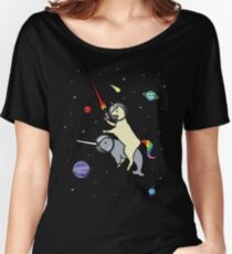 Llamacorn Riding Narwhal In Space Women's Relaxed Fit T-Shirt