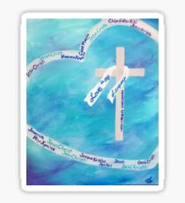 Love In Any Language Cross Sticker