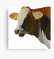 Low Poly Hilarious Cow Canvas Print