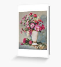 Pink Flowers Oil Painting Greeting Card