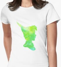 lost boy - green watercolor Womens Fitted T-Shirt