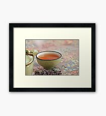 cup with tea macro shot Framed Print