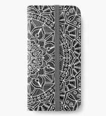Black and White Contrast Circle of Life Mandala iPhone Wallet