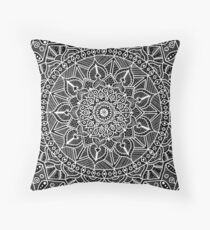 Black and White Contrast Circle of Life Mandala Throw Pillow