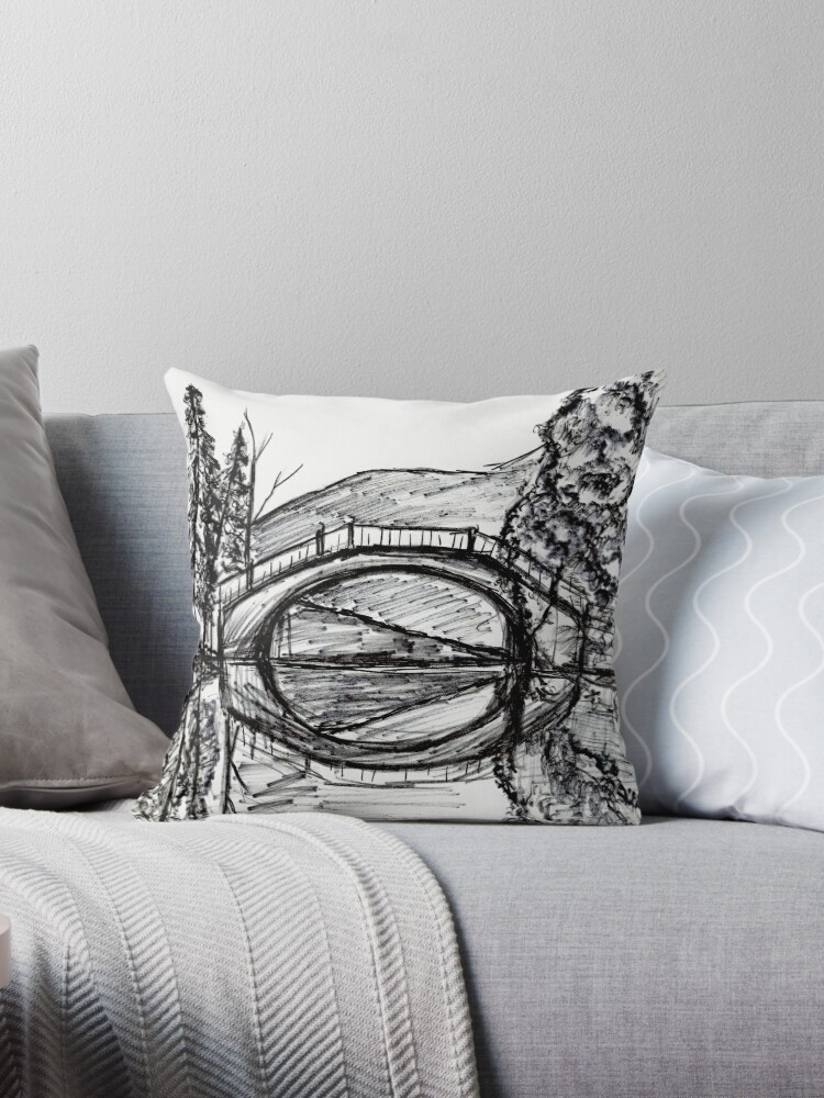 Bridge Reflection Marker Black white drawing by RainbowChildArt