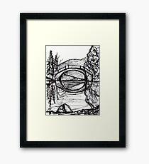 Bridge Reflection Marker Black white drawing Framed Print