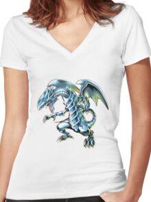 Blue Eyes White Dragon Yu-gi-oh Women's Fitted V-Neck T-Shirt