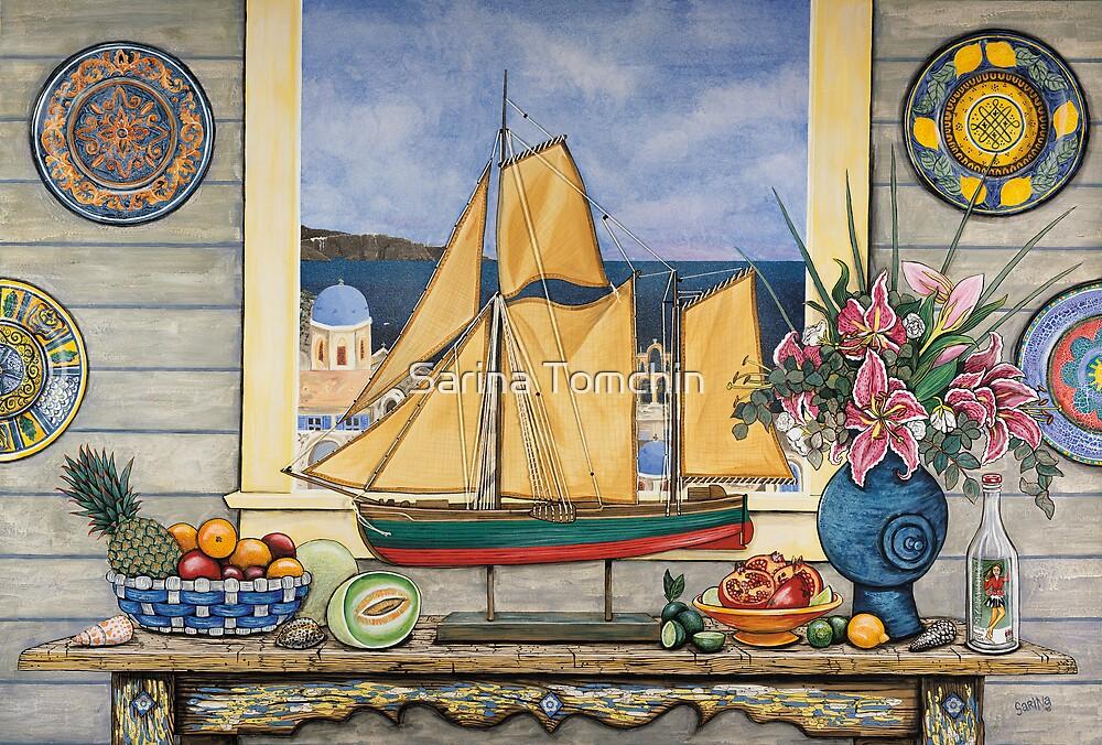 Santorini Model Yacht by Sarina Tomchin