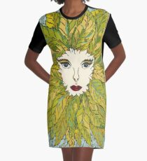 Green Lady - Spring Graphic T-Shirt Dress