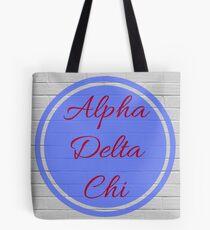 Alpha Delta Chi Flame & Blue Circle Tote Bag