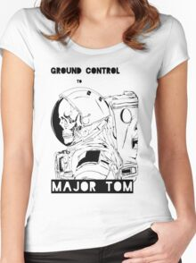 David Bowie Major Tom Astronaut Skeleton Women's Fitted Scoop T-Shirt